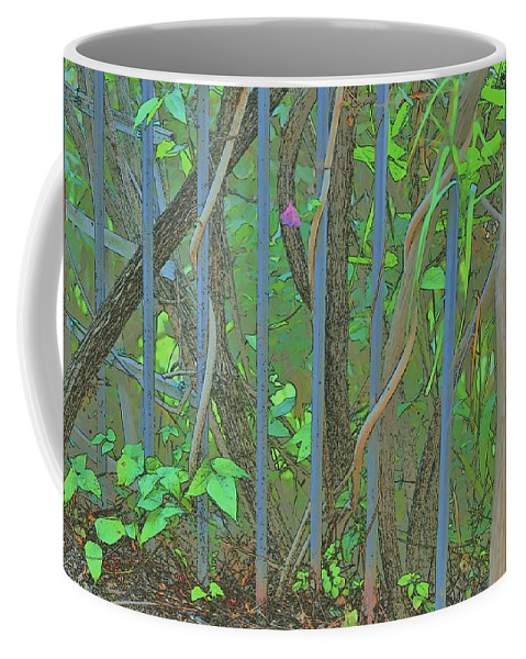 Linda Brody Coffee Mug featuring the digital art Vines Abstract IIi by Linda Brody