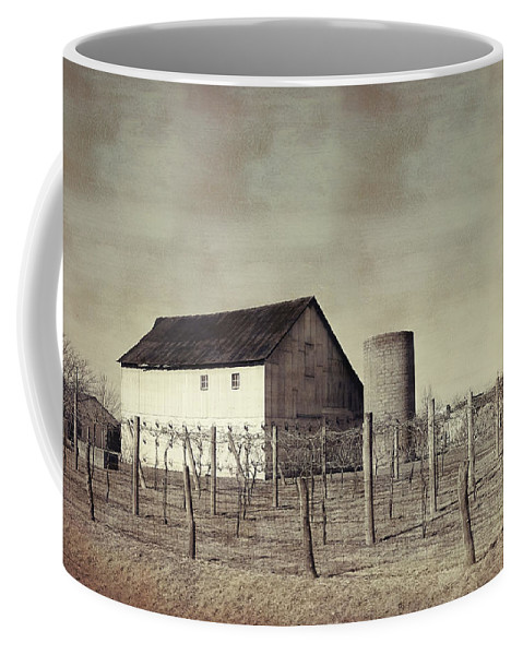 Vineyard Coffee Mug featuring the photograph Vineyard In Winter by Theresa Campbell