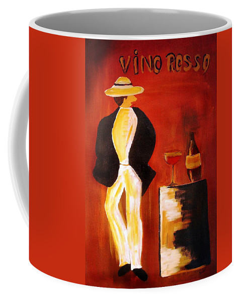Italian Coffee Mug featuring the mixed media Vinorosso by Helmut Rottler