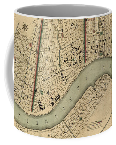 New Orleans Coffee Mug featuring the digital art Vintage 1840s Map of New Orleans by Keith Dotson