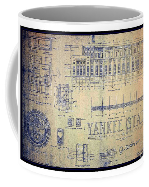 Vintage 1920s art deco yankee stadium blueprint autographed by joe front right view malvernweather Image collections