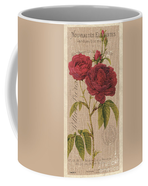 Floral Coffee Mug featuring the painting Vintage Burlap Floral 3 by Debbie DeWitt