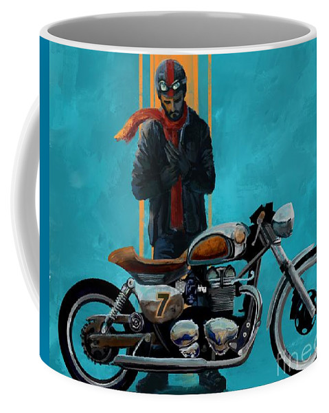 Cafe Racer Coffee Mug featuring the painting Vintage Cafe Racer by Sassan Filsoof