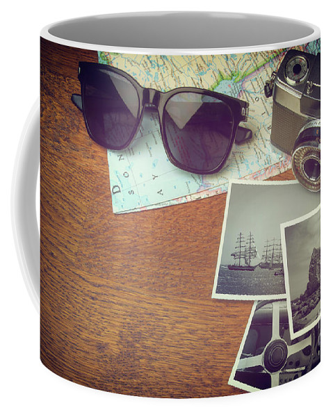 Photo Coffee Mug featuring the photograph Vintage Camera And Map by Carlos Caetano