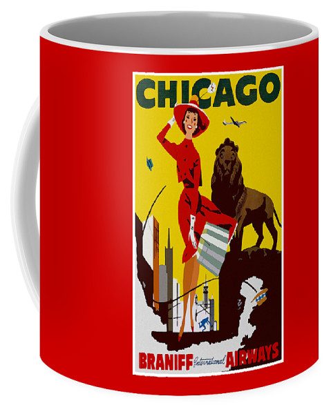 Vintage Coffee Mug featuring the digital art Vintage Chicago Travel Poster by Joy McKenzie