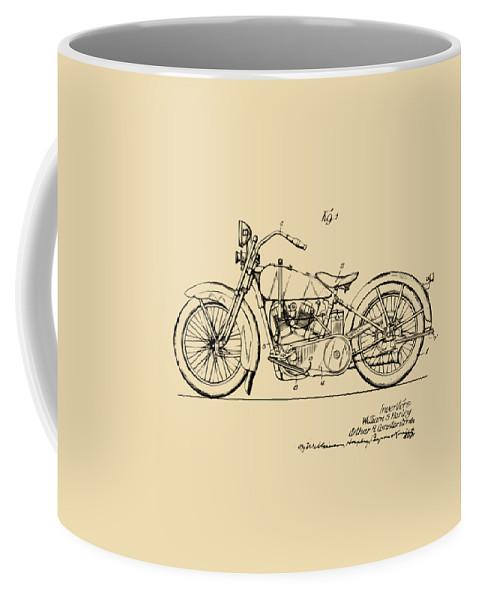 Harley-davidson Coffee Mug featuring the digital art Vintage Harley-davidson Motorcycle 1928 Patent Artwork by Nikki Smith