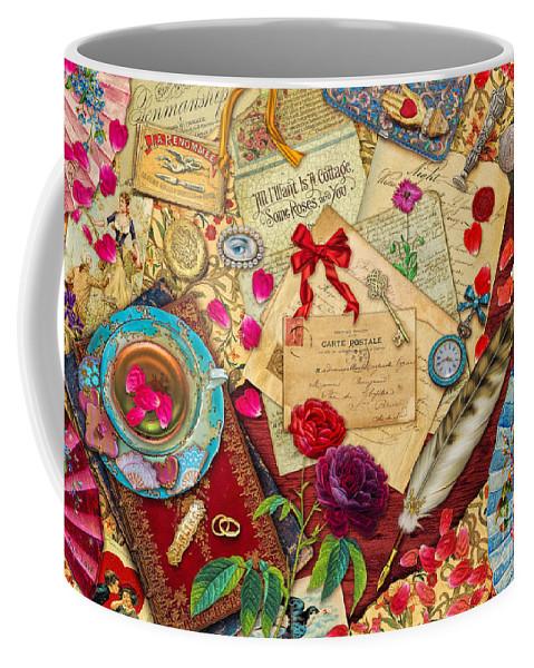 Aimee Stewart Coffee Mug featuring the digital art Vintage Love Letters by MGL Meiklejohn Graphics Licensing