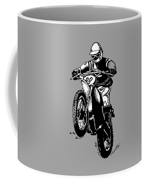 Vintage Motocross Coffee Mug featuring the drawing Vintage Motocross by Elaine Bawden
