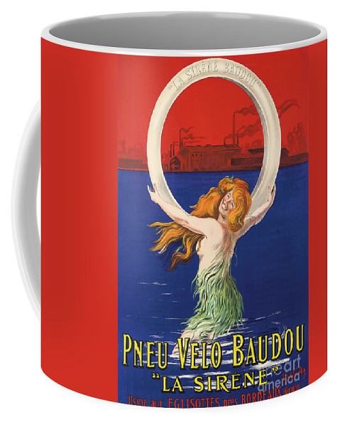Red Coffee Mug featuring the painting Vintage Poster Advertising La Sirene Bicycle Tires by Leonetto Cappiello