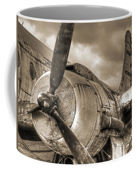 Aviation Coffee Mug featuring the photograph Vintage Prop - Sepia by Gill Billington