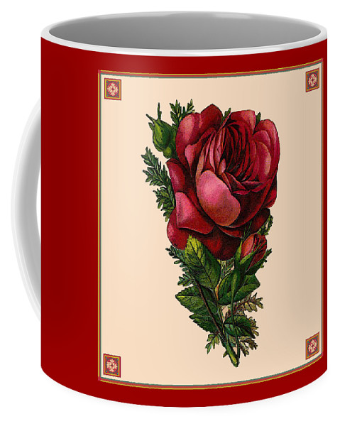 Vintage Coffee Mug featuring the digital art Vintage Red Rose Botanical by Joy McKenzie