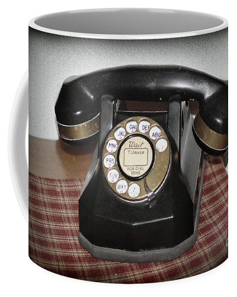 Telephone Coffee Mug featuring the photograph Vintage Rotary Phone by Karen Adams