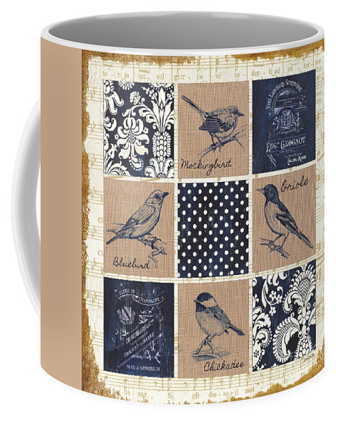 Birds Coffee Mug featuring the painting Vintage Songbird Patch 2 by Debbie DeWitt