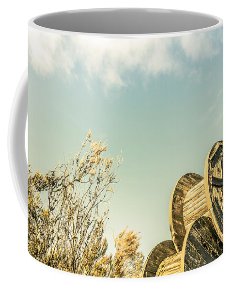 Shabby Coffee Mug featuring the photograph Vintage Spools And Farmyard Skies by Jorgo Photography - Wall Art Gallery