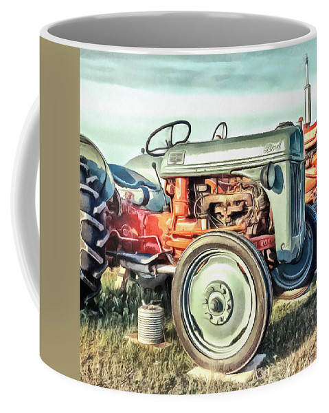 Painting Coffee Mug featuring the painting Vintage Tractors PEI Square by Edward Fielding
