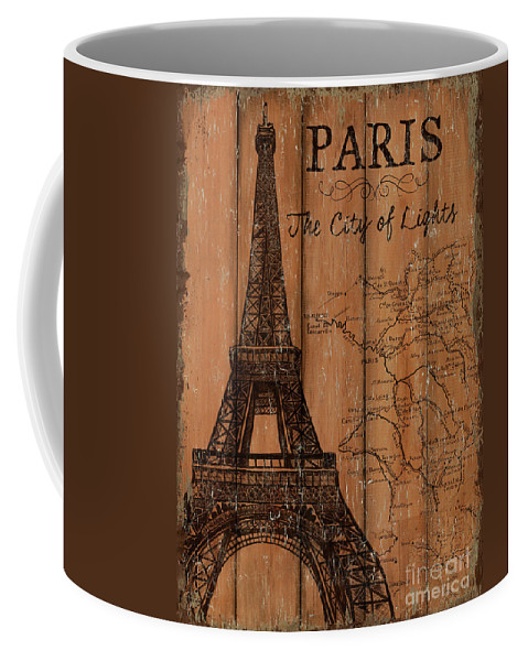 Paris Coffee Mug featuring the painting Vintage Travel Paris by Debbie DeWitt