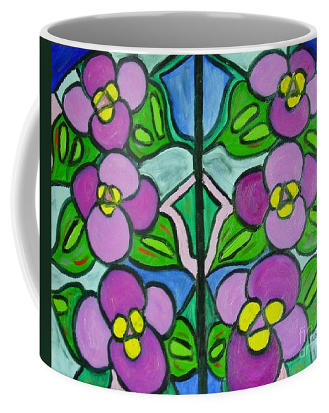 Violets Coffee Mug featuring the painting Vintage Violets by Laurie Morgan