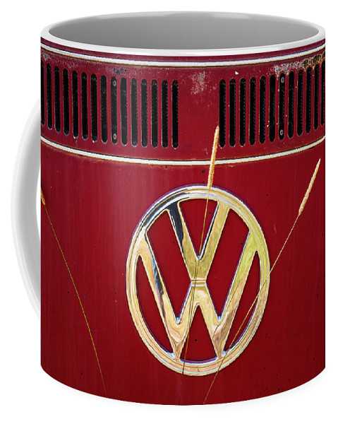 Volkswagen Coffee Mug featuring the photograph Vintage Vw Bus Logo by Marilyn Hunt