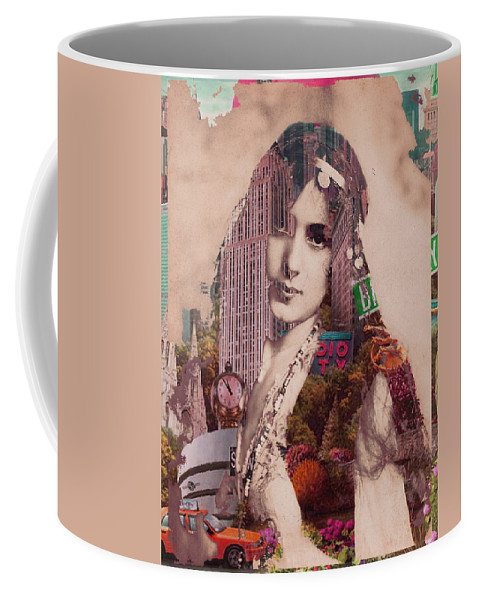 Sky Scraper Coffee Mug featuring the painting Vintage Woman Built By New York City 2 by Tony Rubino