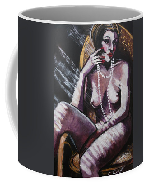 Original Coffee Mug featuring the painting Vintage Years - White Pearls by Carmen Tyrrell