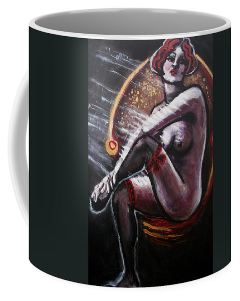 Original Coffee Mug featuring the painting Vintage Years-black Stockings by Carmen Tyrrell
