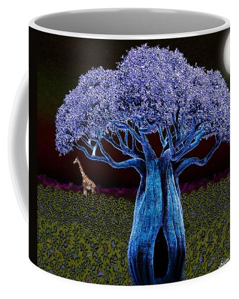 Violet Coffee Mug featuring the digital art Violet Blue Baobab by Iowan Stone-Flowers