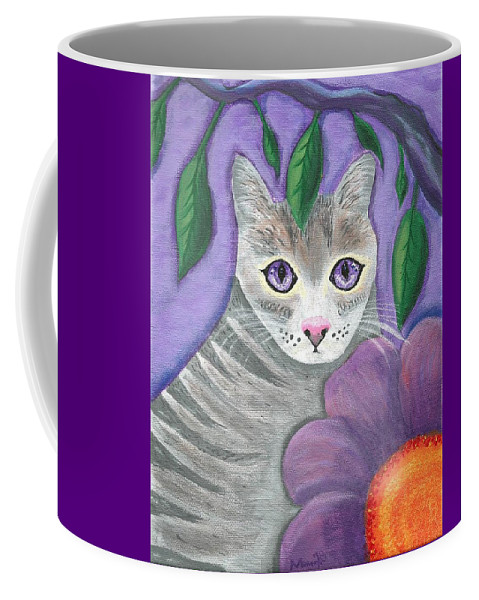 Violet Purple Lavender Eyes Kitty Cat Flower Floral Tabby Grey Coffee Mug featuring the painting Violet Eyed Cat by Monica Resinger