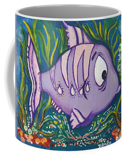 Fish Coffee Mug featuring the painting Violet Fish by Rita Fetisov