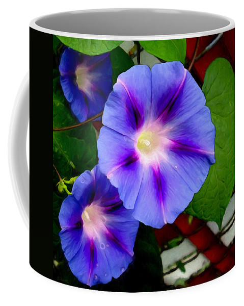 Flowers Coffee Mug featuring the photograph Violet Morning Glories by Shawna Rowe