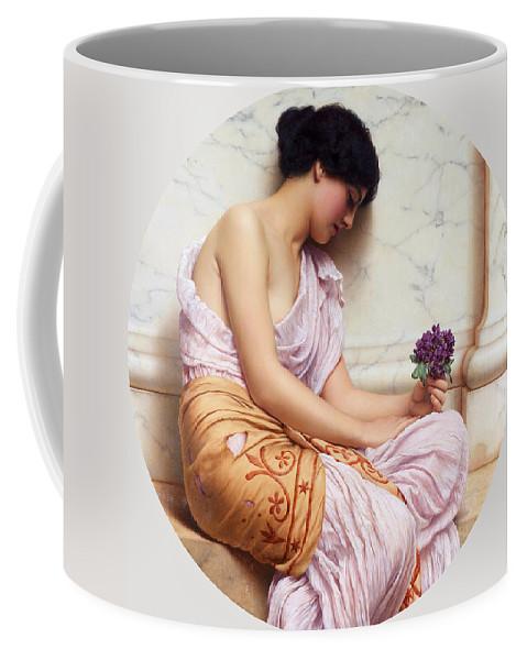 John William Godward Coffee Mug featuring the painting Violets Sweet Violets by John William Godward