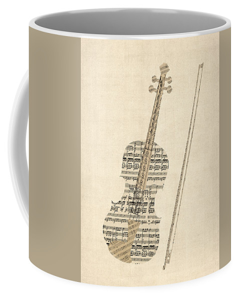Violin Coffee Mug featuring the digital art Violin Old Sheet Music by Michael Tompsett