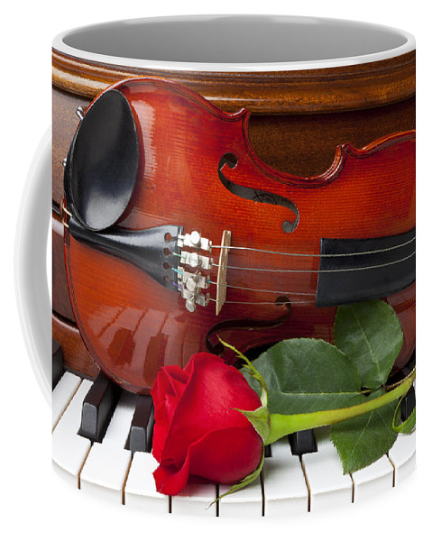 Violin Coffee Mug featuring the photograph Violin With Rose On Piano by Garry Gay
