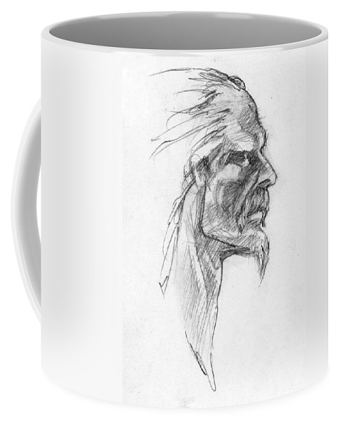 Celtic Coffee Mug featuring the drawing Vircingetorix by Scott Waters