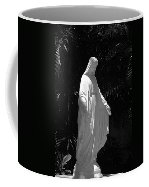 Black And White Coffee Mug featuring the photograph Virgin Mary In Black And White by Rob Hans