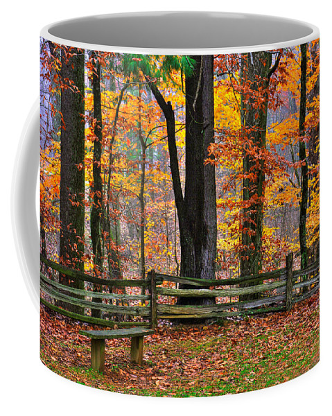 Virginia Coffee Mug featuring the photograph Virginia Country Roads - A Seat With A View - Autumn Colorfest No. 1 Near Mabry Mill - Floyd County by Michael Mazaika