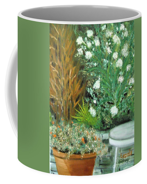Virginia Coffee Mug featuring the painting Virginia's Garden by Laurie Morgan