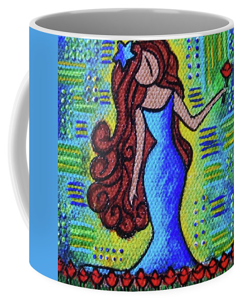 Garden Coffee Mug featuring the painting Virgo Y Flor by Ines Rivera