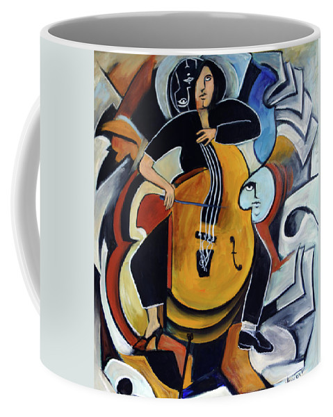 Cellist Coffee Mug featuring the painting Virtuoso by Valerie Vescovi