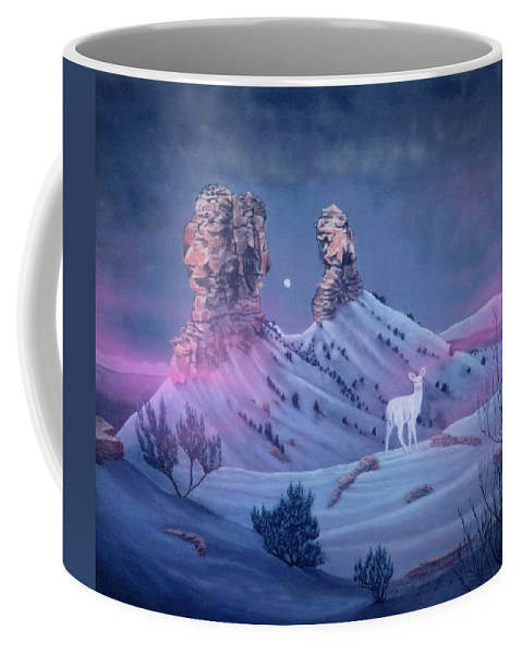 Deer Coffee Mug featuring the painting Vision Of The Legend Of White Deer Woman-chimney Rock Colorado by Anastasia Savage Ealy