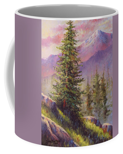 Mountain Coffee Mug featuring the painting Vista View by David G Paul
