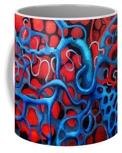 Abstract Coffee Mug featuring the painting Vital Network 2 by Nancy Mueller