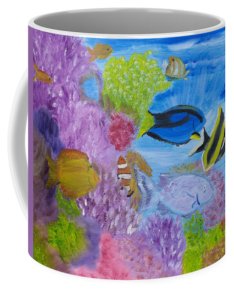 Coral Reef Coffee Mug featuring the painting Corals Calling by Meryl Goudey