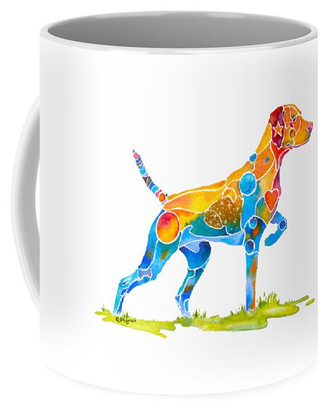 Vizsla Coffee Mug featuring the painting Vizsla On Point by Jo Lynch