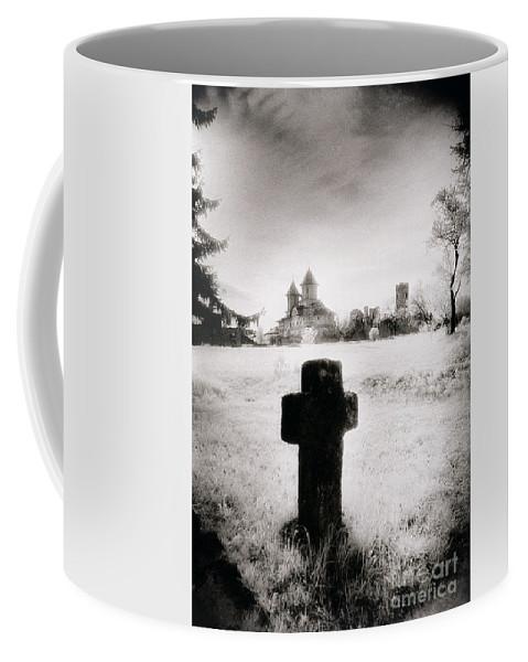Vampire; Ghostly; Cross; Tombstone; Dracula Coffee Mug featuring the photograph Vlad Draculas Palace by Simon Marsden