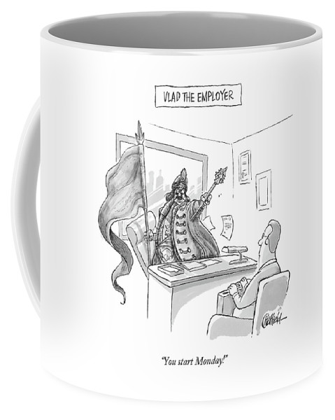 Monday Coffee Mug featuring the drawing Vlad The Employer by Jason Chatfield