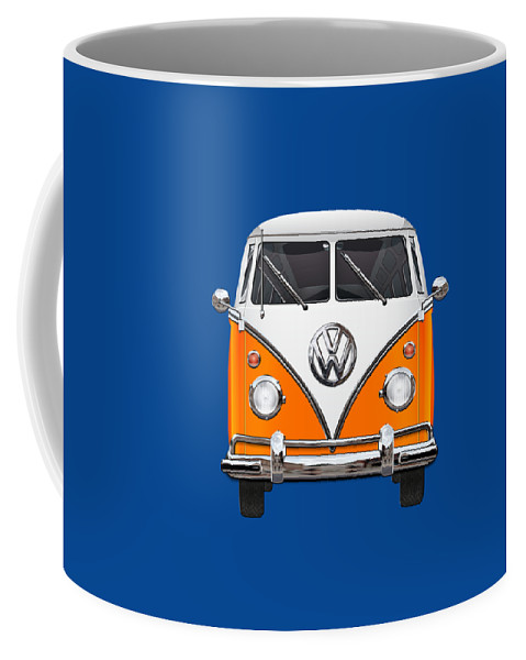 'volkswagen Type 2' Collection By Serge Averbukh Coffee Mug featuring the photograph Volkswagen Type - Orange and White Volkswagen T 1 Samba Bus over Blue Canvas by Serge Averbukh