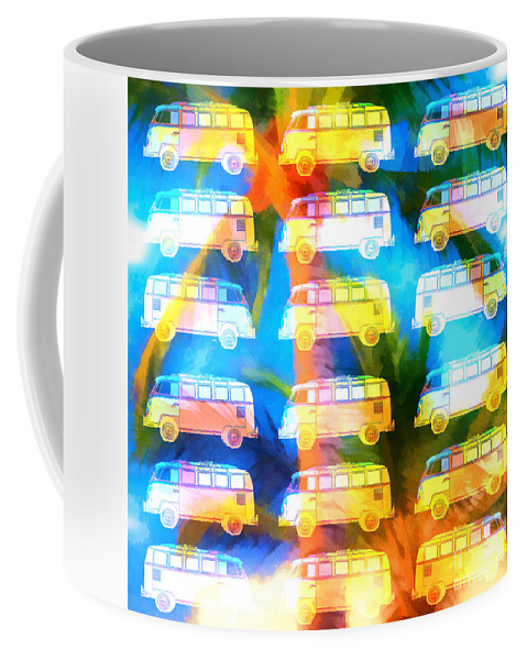 Surfer Coffee Mug featuring the photograph Vw Surfer Van Palm Tree by Edward Fielding