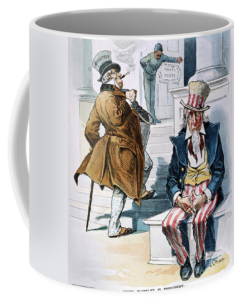 1896 Coffee Mug featuring the photograph W. Mckinley Cartoon, 1896 by Granger