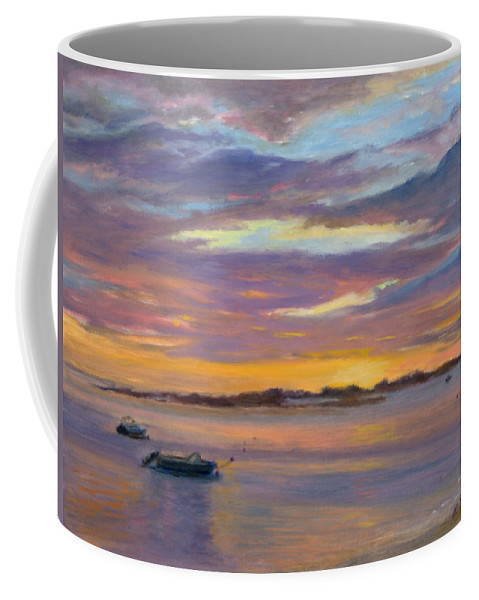 Landscape Coffee Mug featuring the painting Wades Beach Sunset by Phyllis Tarlow