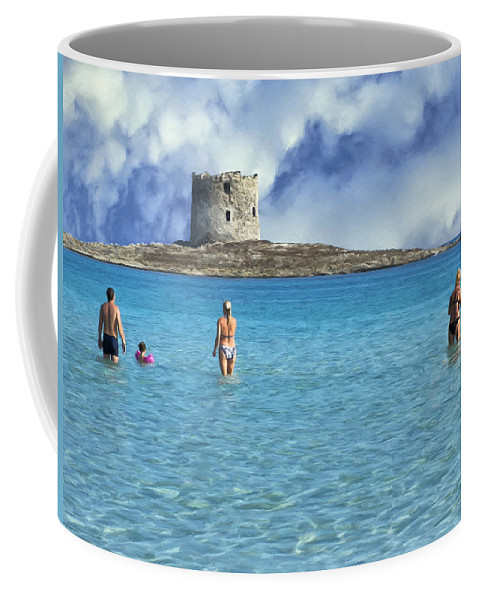 Stintino Coffee Mug featuring the painting Wading At Stintino by Dominic Piperata